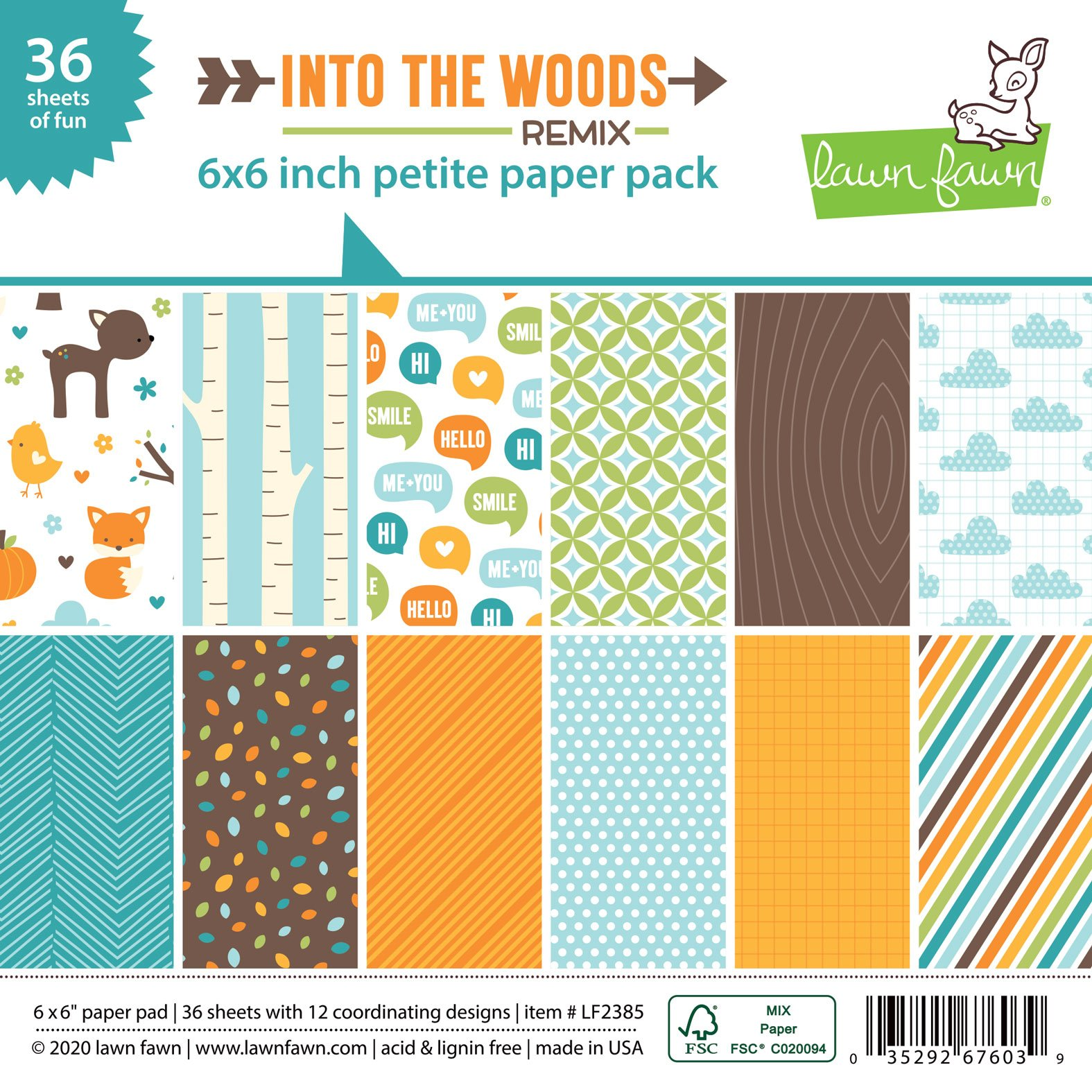 Lawn Fawn Into The Woods Remix Petite Paper Pack